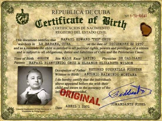 Cruz birth certificate